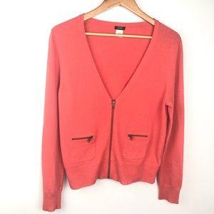 J Crew orange Zip Sweater Size Large